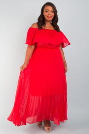 PLUS SIZE off shoulder flounced pleated solid dress