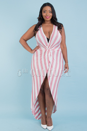PLUS SIZE SLEEVELESS BLACK AND WHITE STRIPE HIGH LOW DRESS
