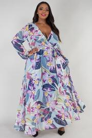 PLUS SIZE Overlap front long sleeve maxi dress