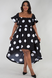 Polka dot smocked hi lo dress
