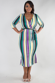 PLUS SIZE Overlap front 3/4 sleeve multi striped mermaid midi dress