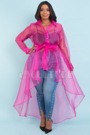 PLUS SIZE Long sleeve waist tied see-through jacket dress