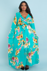 PLUS SIZE OVERLAP FRONT BELTED FLORAL MAXI DRESS