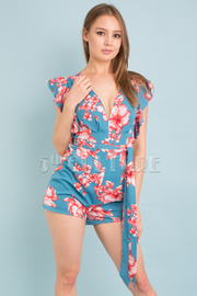 SLEEVELESS BELTED RUFFLED FLORAL ROMPER