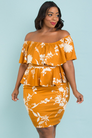 PLUS SIZE OFF SHOULDER FLOUNCED PEPLUM MINI DRESS
