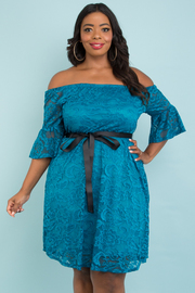 PLUS SIZE OFF SHOULDER RUFFLED FULL LACE DRESS