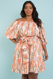 PLUS SIZE OFF SHOULDER 3/4 SLEEVE BELTED DRESS