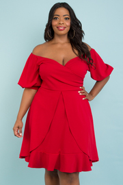 PLUS SIZE OFF SHOULDER PUFF SLEEVE RUFFLE DRESS