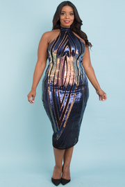 PLUS SIZE HALTER NECK SEQUIN DRESS