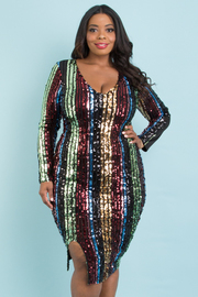 PLUS SIZE LONG SLEEVE SEQUIN BODYCON DRESS