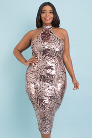 PLUS SIZE MOCK NECK SLEEVELESS FITTED MIDI SEQUIN DRESS