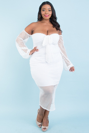 PLUS SIZE OFF SHOULDER LONG PUFF SLEEVE BOW TIE FRONT MESH DRESS