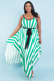 PLUS SIZE STRAP SHOULDER BELTED STRIPE MAXI DRESS