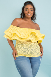PLUS SIZE OFF SHOULDER TWO LAYER WITH BAND TOP