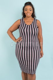 PLUS SIZE SLEEVELESS FITTED STRIPE DRESS