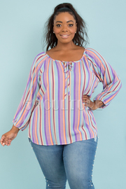 PLUS SIZE SCOOP NECK 3/4 PUFF SLEEVE STRIPE BUTTON UP TOP