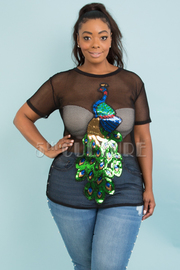 PLUS SIZE Round neck short sleeve see through peacock top