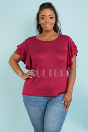 PLUS SIZE DOUBLE LAYERED RUFFLE SLEEVE SOLID TOP