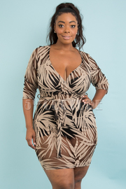 PLUS SIZE OVERLAP FRONT BELTED SHEER MINI DRESS