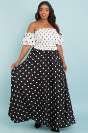 Plus size polka dot black & white dress