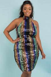 Plus size multi color sequins dress