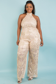 Plus size patterned sequins jumpsuit