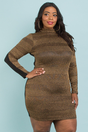 Plus size metallic gold long sleeve dress