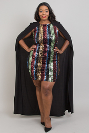 Plus size multi color sequin stripes cape dress