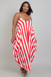 PLUS SIZE Tank sack striped dress with pockets