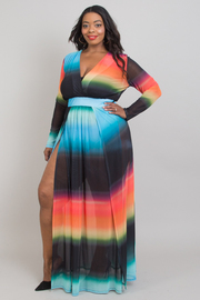 Plus size ombre double slit open maxi