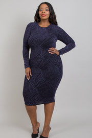 Plus size geo patterned long sleeve dress