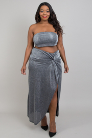 Plus size sparkling skirt sets