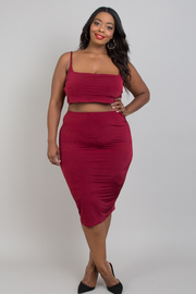 Plus size basic skirt & strap top sets