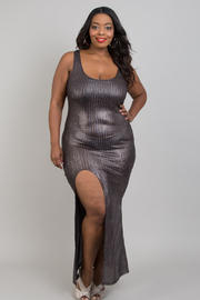 Plus size metallic slit open dress