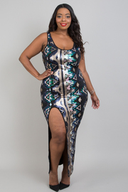 Plus size aztec sequins slip open dress