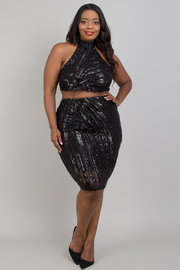 Plus size patterned sequins skirt sets