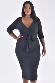 PLUS SIZE 3/4 SLEEVE OVERLAPPED BELTED NEAT DRESS