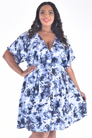 PLUS SIZE SHORT SLEEVE OVERLAP BUTTON-UP FRONT BELTED DRESS