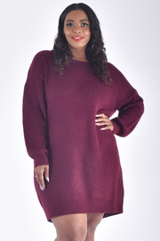 PLUS SIZE ROUND NECK LONG SLEEVE TWISTED BACK NEAT DRESS
