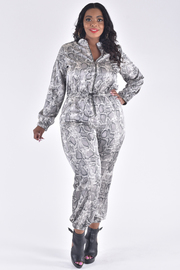 PLUS SIZE ZIP-UP NECK LONG SLEEVE BELTED SNAKE JUMPSUIT