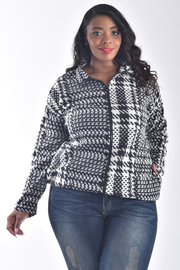 PLUS SIZE LONG SLEEVE ZIP UP PLAID COLLAR JACKET TOP