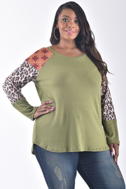 PLUS SIZE ROUND NECK LONG SLEEVE MULTI COLOR SWEATER