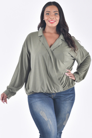 PLUS SIZE LONG SLEEVE OVERLAPPED COLLAR TOP