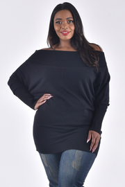 PLUS SIZE OFF SHOULDER LONG SLEEVE SOLID TOP