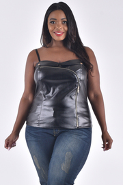 PLUS SIZE FAUX LEATHER SOLID STRAP SHOULDER TOP