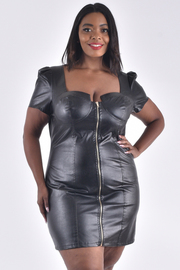 PLUS SIZE FAUX LEATHER SHORT SLEEVE ZIP UP DRESS