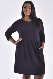 PLUS SIZE ROUND NECK 3/4 TIE SLEEVE POCKET DRESS