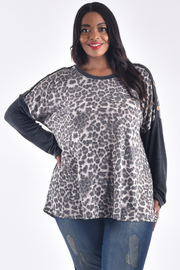 PLUS SIZE ROUND NECK LONG SLEEVE SOLID PRINT TOP