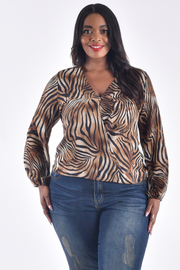 PLUS SIZE OVERLAP FRONT LONG SLEEVE SHEER LEOPARD TOP