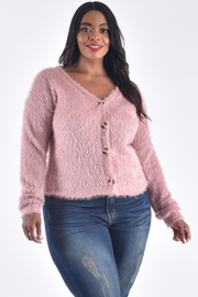 PLUS SIZE V-NECK BUTTON UP FRONT CROCHETED TOP